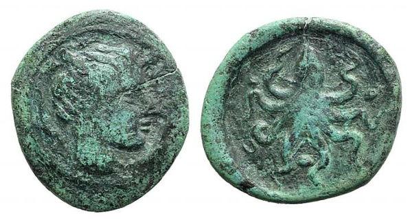 Ancient Coins - ITALY, Sicily, Syracuse, c. 425 BC. AE Tetras
