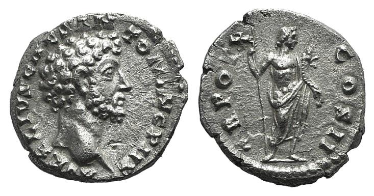Ancient Coins - Marcus Aurelius (Caesar, 139-161). AR Denarius. Rome, 155-6. R/ Genius