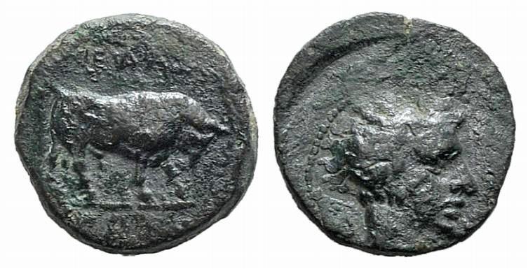 Ancient Coins - Sicily, Gela, c. 420-405 BC. AE 11mm
