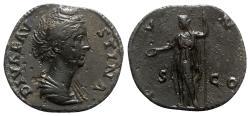 Ancient Coins - Diva Faustina Senior (died 141). Æ Sestertius - Rome - R/ Juno