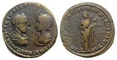 Ancient Coins - Severus Alexander and Julia Mamaea (222-235). Moesia Inferior, Marcianopolis. Æ - R/ Hygieia