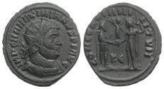 Ancient Coins - Maximianus (286-305). Æ Radiate. Cyzicus, 295-9. R/ Jupiter presenting Victory on globe to Maximianus