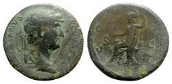 Ancient Coins - Hadrian (117-138). Æ Semis - Rome - R/ Roma seated