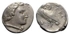 Ancient Coins - Bruttium, Kroton, c. early 3rd century BC. AR Octobo, Owl.