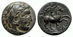 Ancient Coins - Kings of Macedon, Philip III (323-317 BC). Æ Unit with countermark