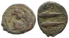 Ancient Coins - Spain, Gadir (Gades), 2nd century BC. Æ Unit. Head of Herakles R/ Two tunny fish