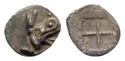 Ancient Coins - Ionia, Teos, late 6th-early 5th century BC. AR Tetartemorion, Griffin.