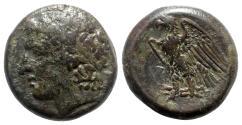 Ancient Coins - Sicily, Syracuse. Hiketas II (287-278 BC). Æ, Zeus / Eagle.