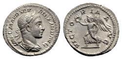 Ancient Coins - Severus Alexander (222-235). AR Denarius - R/ Victory