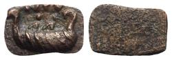 Ancient Coins - Roman Æ Tessera, c. 1st-3rd centuries AD (14mm, 1.39g). Galley; NPV above. RARE