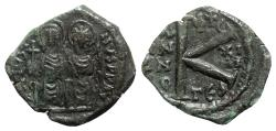 Ancient Coins - Justin II and Sophia (565-578). Æ 20 Nummi - Thessalonica, year 13
