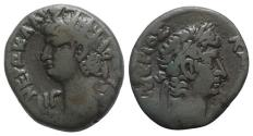 Ancient Coins - Nero with Tiberius (54-68). Egypt, Alexandria. BI Tetradrachm, year 13 (AD 66/7). R/ Head of Tiberius