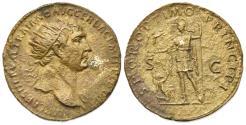 Ancient Coins - Trajan (98-117). Æ Dupondius. Rome, 104-7. R/ Roma standing