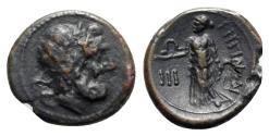 Ancient Coins - ITALY. Bruttium, Rhegion, c. 215-150 BC. Æ Tetras Head of Asklepios. R/ Hygieia standing