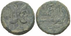 Ancient Coins - ROME REPUBLIC Victory series, central Italy, 211-208 BC. Æ As