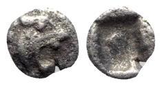 Ancient Coins - Asia Minor, Uncertain, 5th century BC. AR Tetartemorion - Lion / Incuse