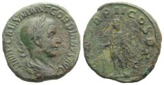 Ancient Coins - Gordian III. AD 238-244. Æ Sestertius. Rome mint, 6th officina. 4th emission, AD 239.