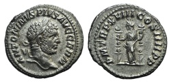 Ancient Coins - Caracalla (198-217). AR Denarius. Rome, AD 215.  R/ Fides