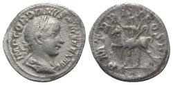 Ancient Coins - Gordian III (238-244). AR Denarius. Rome, AD 240.  R/ Gordian on horseback