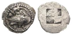 Ancient Coins - Macedon, Eion, c. 5th century BC. AR Diobol. Goose, lizard above.
