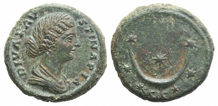 Ancient Coins - Diva Faustina Junior (died 175/6). AE As. Rome, 176 and later. R/ Crescent and seven stars.