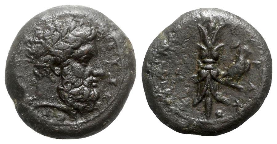 Ancient Coins - Sicily, Syracuse, c. 339/8-334 BC. Æ Hemidrachm - Zeus Eleutherios / Thunderbolt with eagle