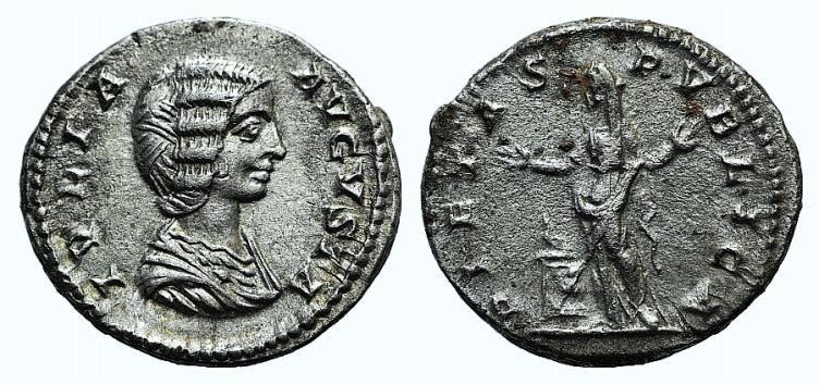 Ancient Coins - Julia Domna (Augusta, 193-217). AR Denarius. Rome, c. 200-7. R/ Pietas
