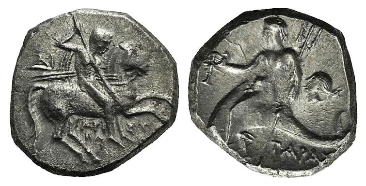 Ancient Coins - Apulia, Tarentum, c. 272-240 BC. AR Nomos. Aristokles and Di-, magistrates.