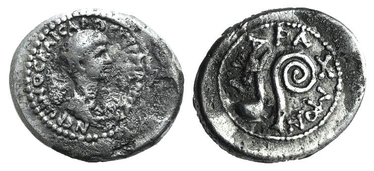 Ancient Coins - Seleucis and Pieria. Antioch. Nero. As Caesar, 50-54 AD. AR Didrachm R/  / DIDRACMON, simpulum and lituus