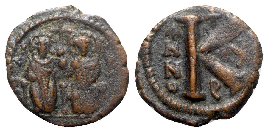Ancient Coins - Justin II and Sophia (565-578). Æ 20 Nummi - Antioch