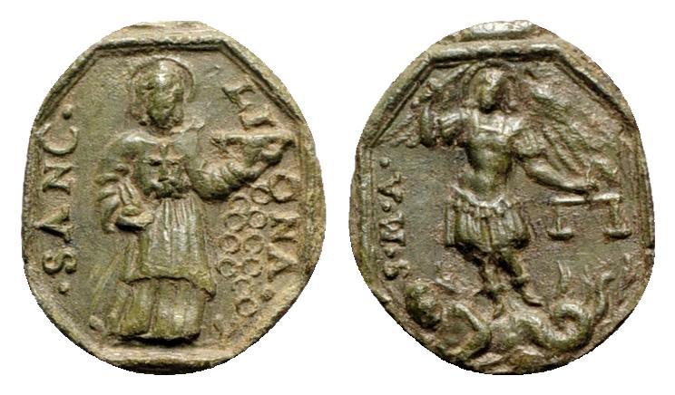 Ancient Coins - Religious AE Medal, c. XVI-XVII century. •SANC• LIONA, St. Liona R/ S•M•A, St. Michael the Archangel