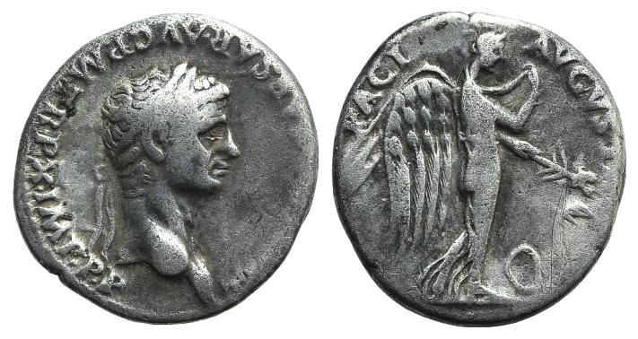 Ancient Coins - Claudius (41-54). AR Denarius. Rome, 50-1. R/ Pax-Nemesis