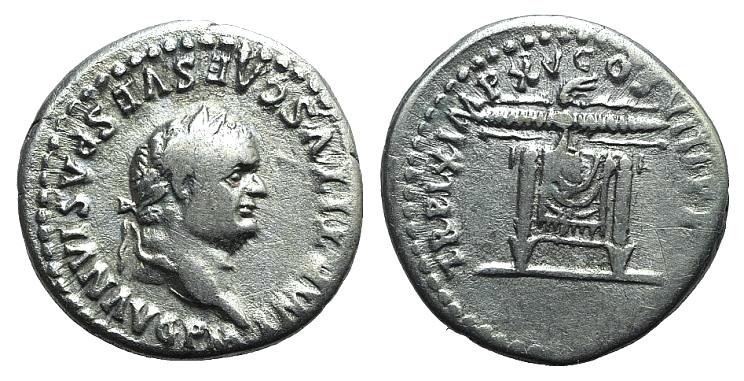 Ancient Coins - Titus (79-81). AR Denarius. Rome, 1 January-30 June 80. R/ Pulvinar (throne)
