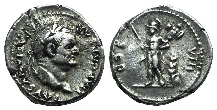 Ancient Coins - Vespasian (69-79). AR Denarius. Rome, 77-8. R/ MARS