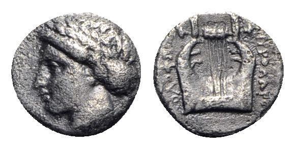 Ancient Coins - Ionia, Kolophon, c. 375-360 BC. AR Diobol R/ LYRE