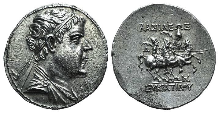 Ancient Coins - KINGS of BAKTRIA. Eukratides I. Circa 171-145 BC. AR Tetradrachm. Attic standard. EXTREMELY FINE