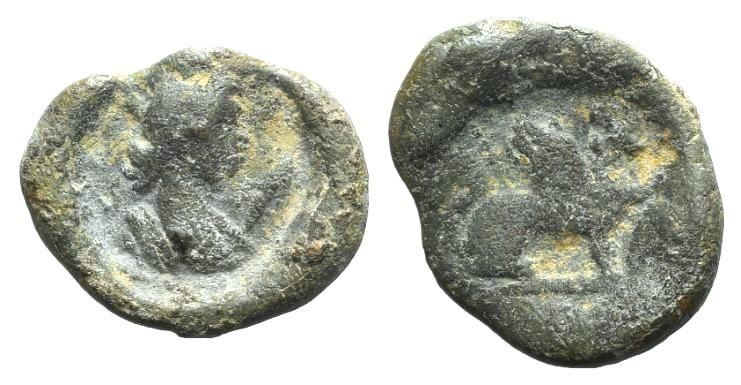 Ancient Coins - Egypt, Alexandria, 2nd century AD. PB Tessera R/ Sphinx