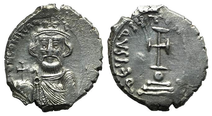 Ancient Coins - Constans II (641-668). AR Hexagram. Constantinople, 650-654.