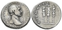 Ancient Coins - Trajan, 98-117 Tridrachm Bostra (Arabia) circa 112-114 R/ Legionary aquila flanked by two standards
