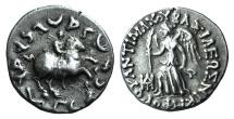 Ancient Coins - KINGS of BAKTRIA. Antimachos II Nikephoros. Circa 174-165 BC. AR Drachm. Bilingual series.