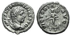 Ancient Coins - Elagabalus. AD 218-222. AR Denarius. Rome mint. Struck AD 220-1. R/ VICTORY