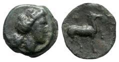 Ancient Coins - Sicily, Eryx, c. 4th century BC. Æ - Female head / Horse