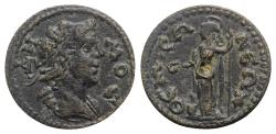 Ancient Coins - Phrygia, Themisonium. Pseudo-autonomous issue, time of Severus Alexander (222-235). Æ  - Demos / Athena - RARE