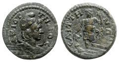 Ancient Coins - Lydia, Saitta. Pseudo-autonomous issue, time of Caracalla–Gallienus, 198-268. Æ - Mên / Dionysos
