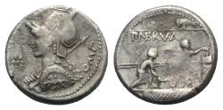 Ancient Coins - ROME REPUBLIC P. Nerva, Rome, 113-112 BC. AR Denarius R/ Three citizens voting on comitium