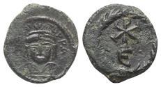 Ancient Coins - Maurice Tiberius (582-602). Æ 5 Nummi. Constantine in Numidia (?), c. 592-597.  R/  Christogram