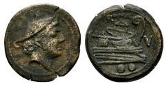 Ancient Coins - ROME REPUBLIC V series, Southeast Italy, c. 211-210 BC. Æ Sextans RARE