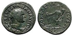 Ancient Coins - Vespasian (69-79). Æ Dupondius - Rome - R/ Concordia