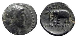 Ancient Coins - Seleukid Kings, Antiochos III (222-187). Æ - Apollo / Elephant