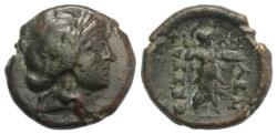 Ancient Coins - Thessaly, Thessalian League, c. 196-27 BC. Æ 20mm. Philok… and Asor…, magistrates. R/ Athena Itonia